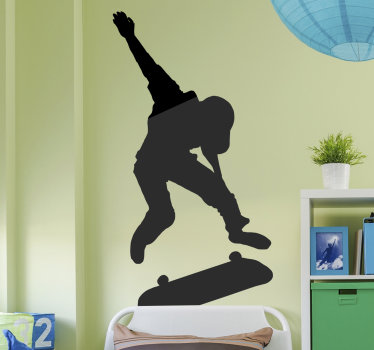 Easy to apply decorative wall sticker design of an extreme sport wall sticker with a skater on it. Available in different colour options and sizes.