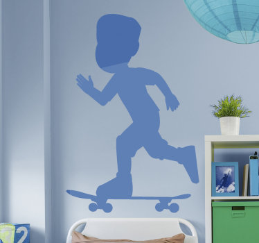 An extreme sport wall decal design of a kid ruining on a skate board. An ideal design for the decoration of teen space and any skate center.