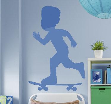 Un diseño de vinilo pared de deporte de un niño corriendo una tabla de skate. Un diseño ideal para la decoración del espacio para adolescentes y cualquier centro de skate.