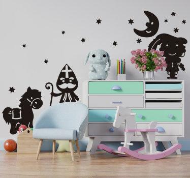 Sinterklaas muurzelfklevende sticker idee voor kinderen. Het ontwerp heeft sinterklaas en andere kersticonen erop. Eenvoudig aan te brengen zelfklevend vinyl.
