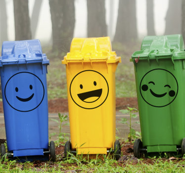 Trash containers stickers with funny emojis to apply on the surface of disposable bins  both at home and on street recycle bin containers.