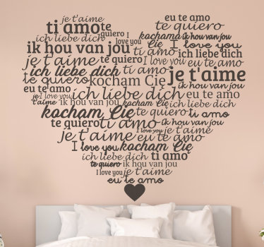 Easy to apply decorative wall decal designed with'' i love you''text in multiple languages in a heart shape background. Available in different colour.