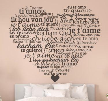 """Vinilo adhesivo fácil de aplicar diseñado con el texto """"te amo"""" en varios idiomas en un fondo en forma de corazón. Disponible en diferentes colores."""