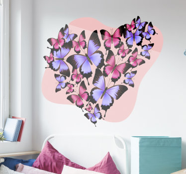 Wall sticker design of butterfly in heart shape to beautify any space in the home. A multicolored design decorative for any flat surface.