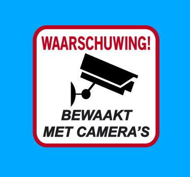 Waarschuwing bewaakt met camera zelfklevende sticker voor iconische bewegwijzering. Kan thuis en op openbare plaatsen worden toegepast voor controle van veiligheidswaarschuwingen.