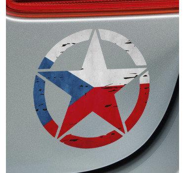 Nálepka designu české vlajky v podobě hvězdy na kulatém povrchu. Velmi krásný design ideální pro jakýkoli typ vozidla.
