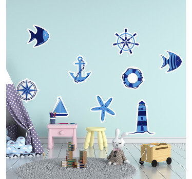 Children bedroom illustration wall decal of nautical theme with elements of the sea and under water life in brilliant blue colour.
