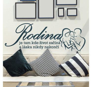 """Dekorativní domácí nálepka na zeď pro rodinu. Design má na sobě rodinný obrázek s textem """"rodina je místo, kde začíná život"""""""