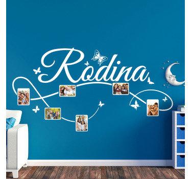 Styl obtisku rodinného domu ve stylu s prostorem pro shromažďování fotografií k opravě fotografií rodiny. Dekorativní ideální pro jakýkoli povrch stěny.