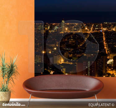A wall sticker with an image from a photographer illustrating Barcelona at night. Combine it with other related decals.