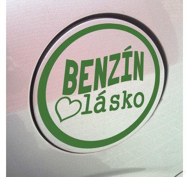 Dekorativní auto vinyl nálepka design benzínu lásky. Kulatý povrch s textem '' benzín love '' vysoce kvalitní lepicí vinyl.