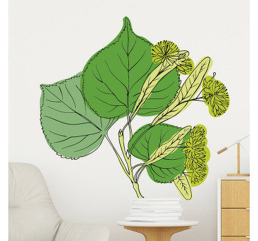 Multicolored design of a blossom Linden plant wall sticker for home decoration For the living room and bedroom space. Ideal for any flat surface.