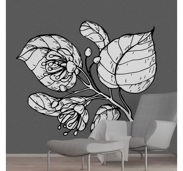 Vinilo decorativo de pared de planta de flores de tilo en apariencia de color simple. Un diseño ideal para cualquier superficie de la pared de la casa.