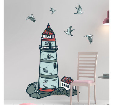 Decorative nautical lighthouse wall decal design to beautify any flat surface of your choice. The design comes in sizes and easy to apply.