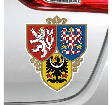 Dekorativní okenní vinylová samolepka s designem pražské stráže v mnohobarevném stylu a velmi krásný ideální design pro každé vozidlo.
