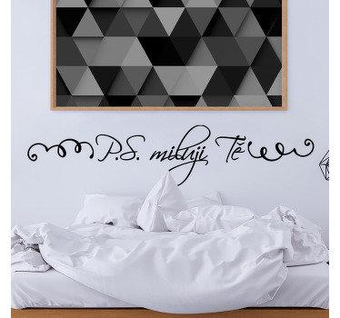 """Jednoduchá nálepka na zeď na čelní desce navržená s textem """"miluji tě"""". Ideální pro dekoraci ložnice a má snadnou aplikaci."""