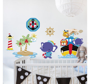 Decorate any kid space with this kids wall decal that features sailboat, lighthouse and anchor in pretty colour that any child would love.