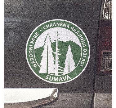 Snadno použitelný dekorativní auto vinyl obtisk národní park Šumava vytvořený na pozadí kulatý povrch s jeho hlavní rys.
