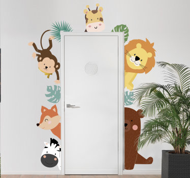 Easy and decorative door sticker created with cartoon characters animals in lovely bright colours and ideal for the door space of infants and kids.