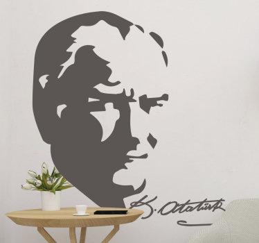 Kişilik severler için ideal bir dekoratif fikir. Onun üzerine imzası ile atatürk'ün yüzünün bir karakter duvar sticker.
