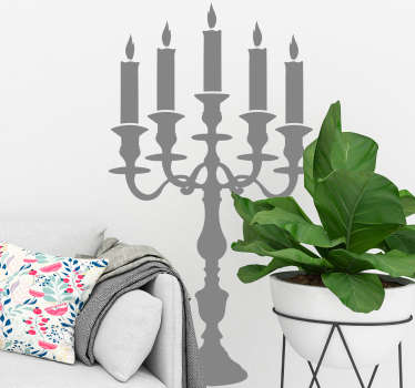 Room Stickers - Tenstickers home decals. Decorative long candlestick. Simple and vintage design suitable for any space.