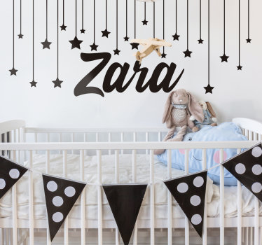 Starry night Wall decal for kids to decorate the space of any child or infant. The design can be personalized with the name of your choice on it.