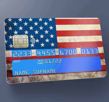 Diseño de vinilo de tarjeta de crédito con bandera americana decorativo y fácil de aplicar para embellecer la superficie de cualquier tarjeta y hacerla exclusiva.