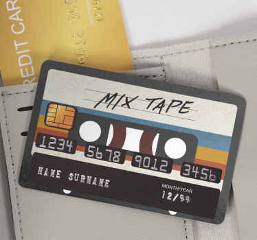 A mix tape cassette decorative bank card sticker with a nice reveal surface of a stereo. Simple and easy application with a reveal of the detail area.