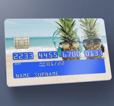 Profitez de ce magnifique sticker carte bancaire pour customiser n'importe quelle carte avec ces ananas à la plage. Sticker adhésif très facile à appliquer.