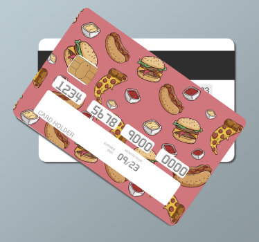 Decorative bank credit card vinyl decal to decorate the surface of your card. Its a junk food design and you will love it appearance when applied.