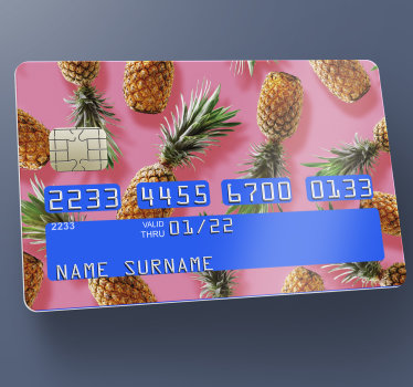 Decorative credit card vinyl decal designed with a pineapple on beautify background. Very easy to apply because of it adhesive material.