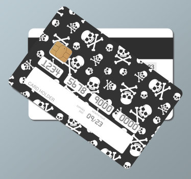 A decorative credit card vinyl sticker with the design of a skull and bone on it. A beautiful and ideal design  for any card.