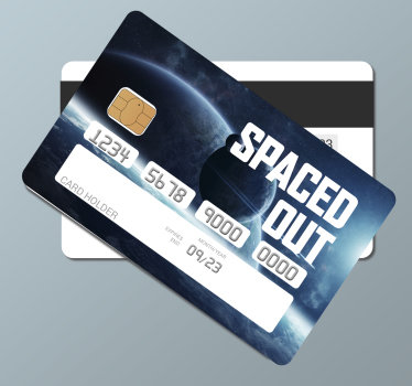 Buy our decorative bank card vinyl decal that features space on it with a nice appearance .You can order it online and we will deliver it to you.