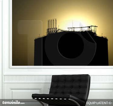 写真の壁画-現代の産業建設のバックライトショット。リビングルームを飾るのに最適です。