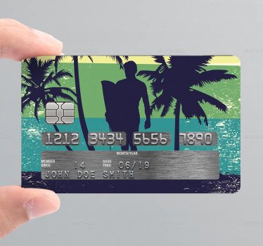 Decorative bank credit card vinyl decal designed with the graphic appearance of a surfer in the camp . Buy it online and we will deliver to you.