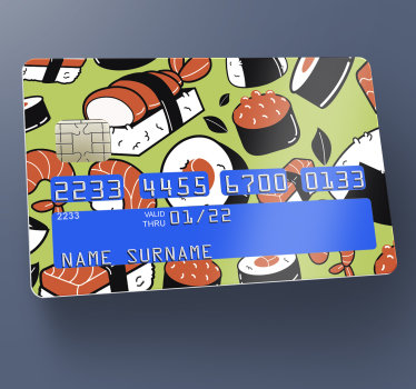 Decorative bank card vinyl sticker with the design of sushi on it. Very lovely design to steal the attention of people anywhere you use your card.