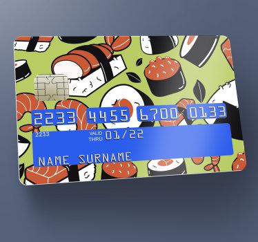 그것에 초밥의 디자인 장식 은행 카드 비닐 스티커. 당신이 당신의 카드를 사용하는 모든 곳의 사람들의 관심을 훔칠 매우 사랑스러운 디자인.