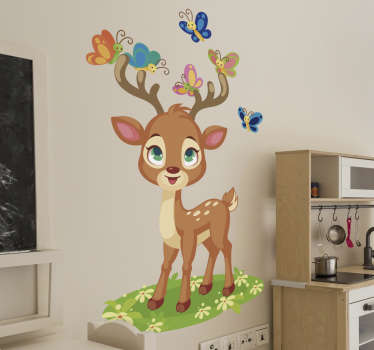Decorative wall sticker design of a deer with butterflies in pretty colours . The design is ideal for the wall space of children.