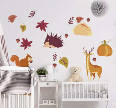Easy to apply and declarative wall sticker designed with autumn animals in pretty colours and you can apply it in the manner you want.