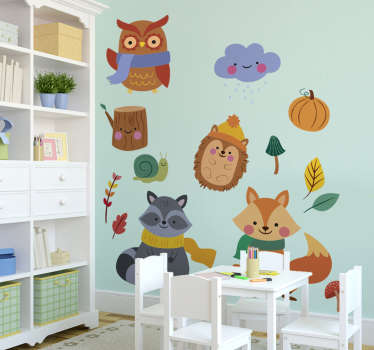 Beautiful and decorative wall sticker for kid that has different autumn animals on it. Buy it in the size that you prefer.