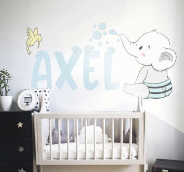 Decorative personalisable illustrative wall sticker of a baby. It can be customized with a name on it. Easy to apply on any flat surface.