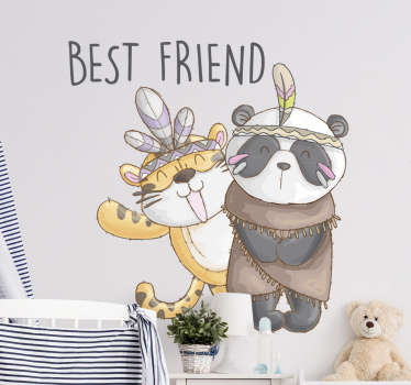 Decorative wall sticker for for kids with the design of cartoon panda & tiger. Easy to apply on any flat surface and available in size options.