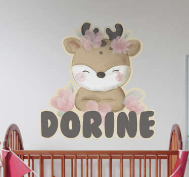 Personalisable decorative wall sticker for children with the design of a baby deer on it. Buy it in the size that you want.