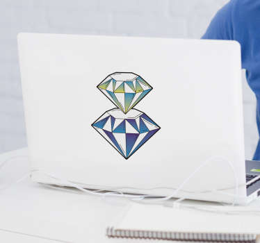 stickerin vinile decorativo laptop design di un doppio diamante. Un diamante sopra l'altro in un bel colore. Facile da applicare su una superficie piana.