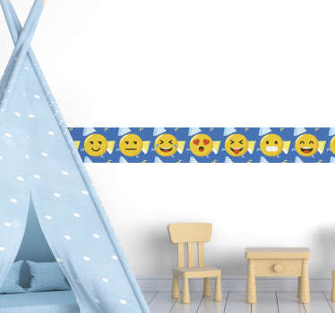 Emoji wall boarder sticker  to decorate any wall surface in the home. Chose it in the size of preference and it is easy to apply.