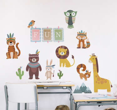 A decorative  children wall decal design created with tribal animals collection  with text that says '' funny''. Easy to apply on any flat surface.