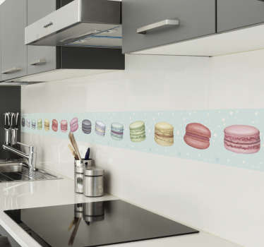 Cuisine wall boarder sticker design for the kitchen wall created with macaroons in multicolour to define the surface. Easy to apply.