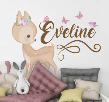 Illustrative wall art sticker for children with a Deer created in very colorful appearance . It is available in different sizes to choose.