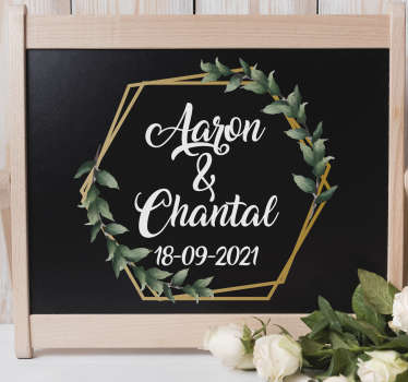 Best vinyl decorative wedding sticker with personalisable name and date for a wedding. Can be applied on any flat surface .