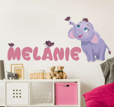 Personalisable name animal wall sticker of an elephant to decorate the space of kids and infant with a name on it. Easy to apply.